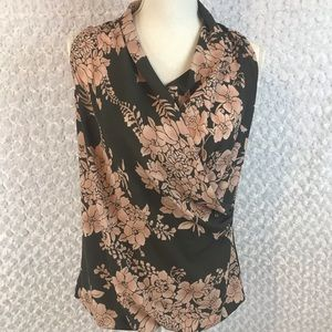 CAbi Floral Faux Wrap Top